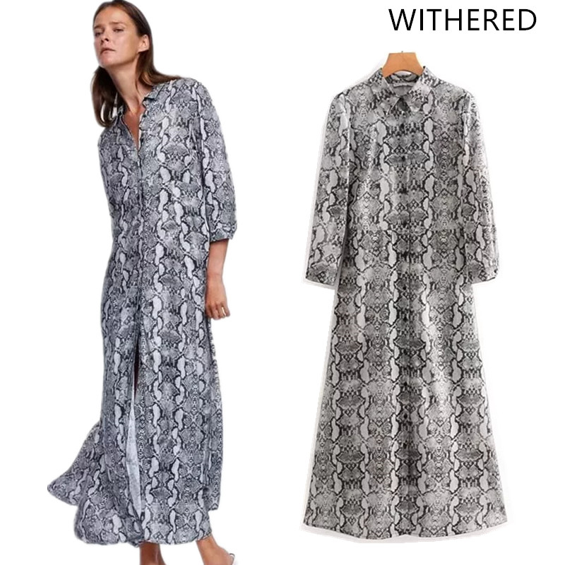 89338c18a390 Detail Feedback Questions about Withered 2018 vestidos feminina dress  england style single breasted print Snake skin straight midi dress vestido  women 0823 ...