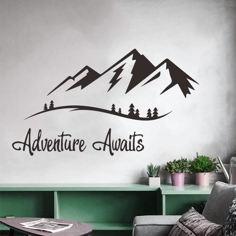 English Proverbs Adventure Awaits Wall Sticker For Living Room Study Home Decoration Mural Decals Wallpaper Mountain Stickers