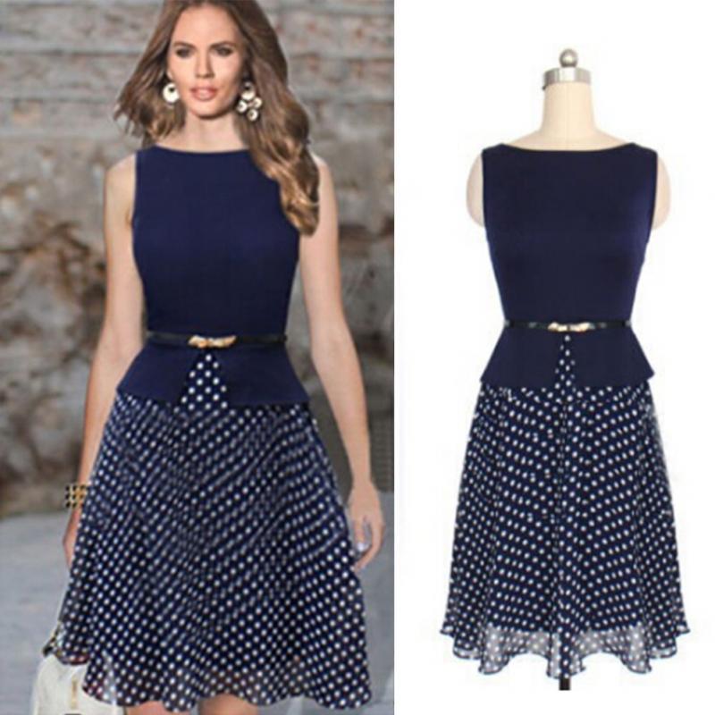 Online Shop Womens Summer Retro suit Stitching One-Piece Polka Dot ...