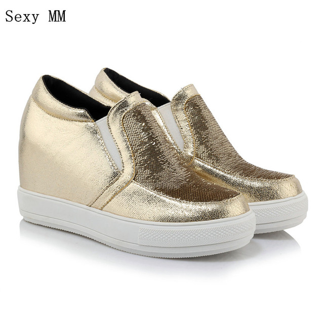 Slip on Zapatos mujeres Mocasines cuñas aumento de la altura plataforma cuña planos ocasionales Zapatos más tamaño 34-40 41 42 43