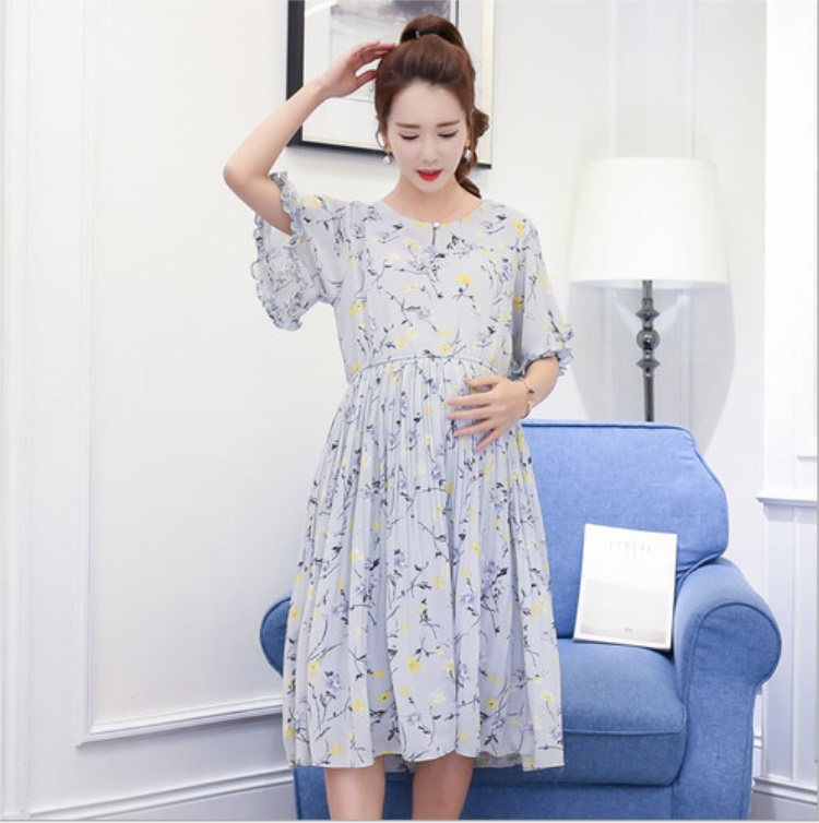 Summer maternity dress loose short - sleeved pregnant women skirt floral long paragraph Slim dress skirt asymmetrical ruffle trim floral skirt