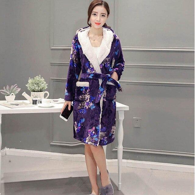 63c18ca442 Thickening Flannel Winter Robe Peignoir Femme Soie Albornoz Sexy Robes For Women  Bathrobe Dressing Gowns For Women Bathrobes