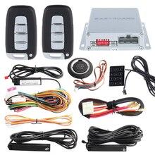 PKE coche sistema de alarma con 4 teledirigidos dominantes, remoto del motor de arranque/parada, pulsador de arranque y parada y contraseña de entrada Táctil