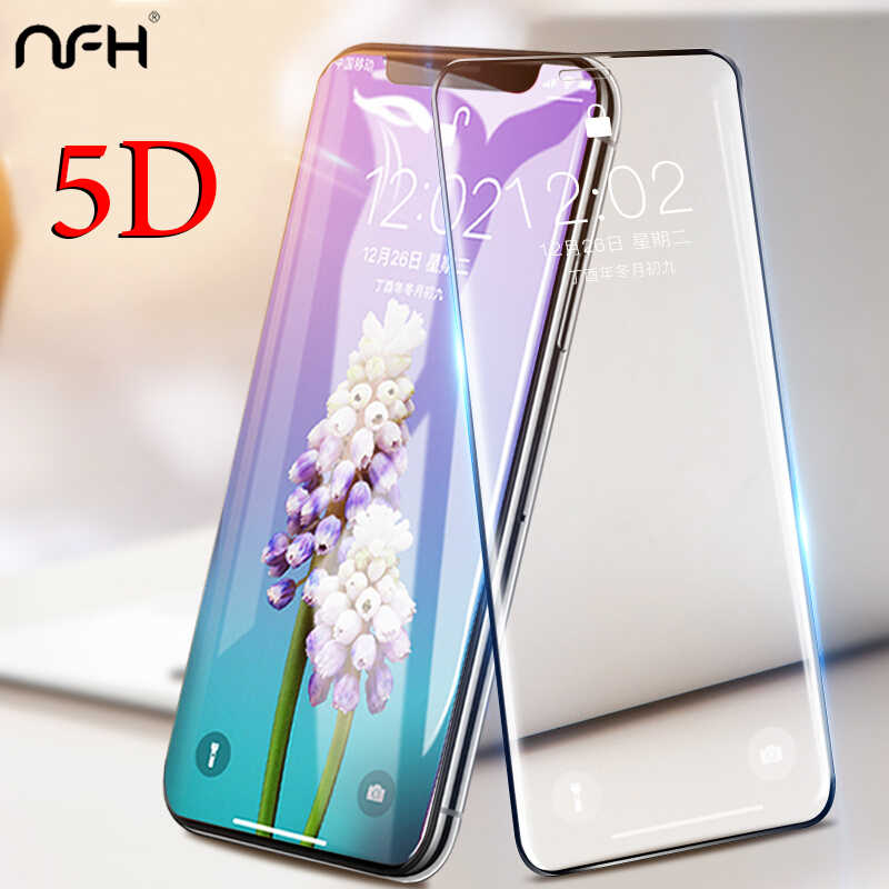 NFH 5D Glass For iPhone XS Max X XR 5 D Screen Protector Glass For iPhone On 7 8 6 6S Plus XS Max XR 10 Film Full Covers Edge 5D