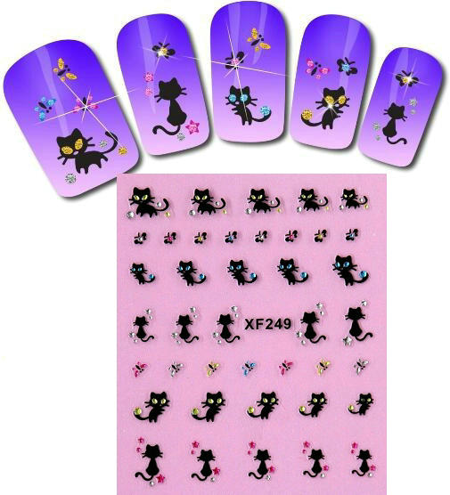 Nail stickers cat black and white paste cute animals butterfly flower stickers nail tools diy jewelry