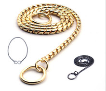Snake Chain Dog Training Collar Pet Show Collar Heavy Duty Metal Chain P Choke dog Collars  Strong Silver Chrome Gold Black 18 26 31mm new huge duty strong stainless steel silver gold lock buckle pet dog cuban curb chain training choke collar pit bull