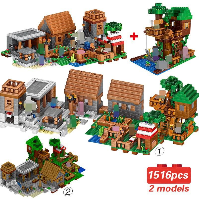 Minecraft My World Village Tree House Farm Action Figures Building Blocks Mini Bricks Figures DIY Toys