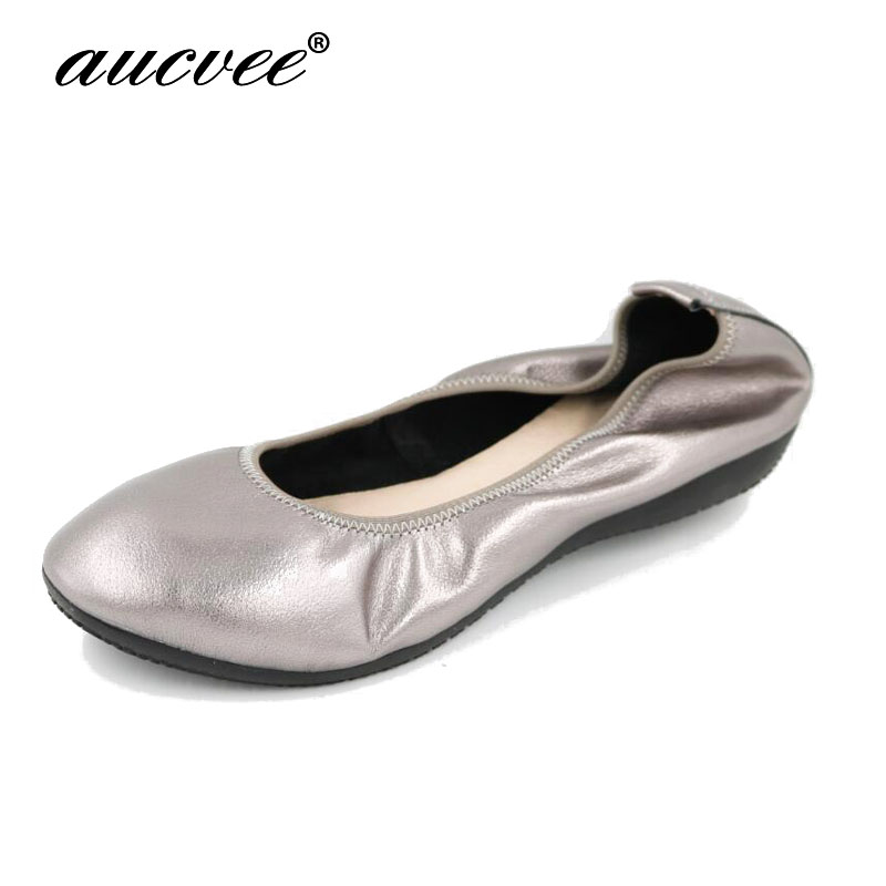 AUCVEE 2019 100 Genuine Leather Flat Shoes Woman Hand sewn Loafers Cowhide Flexible Spring Casual Shoes