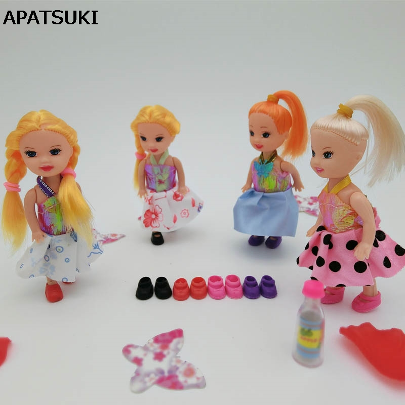 цена на 10pairs Cute Shoes For Kelly Doll Shoes For Barbie's Sister Little Kelly Baby Doll 3.5'' 1/12 Mini Dolls Shoes Doll Accessories
