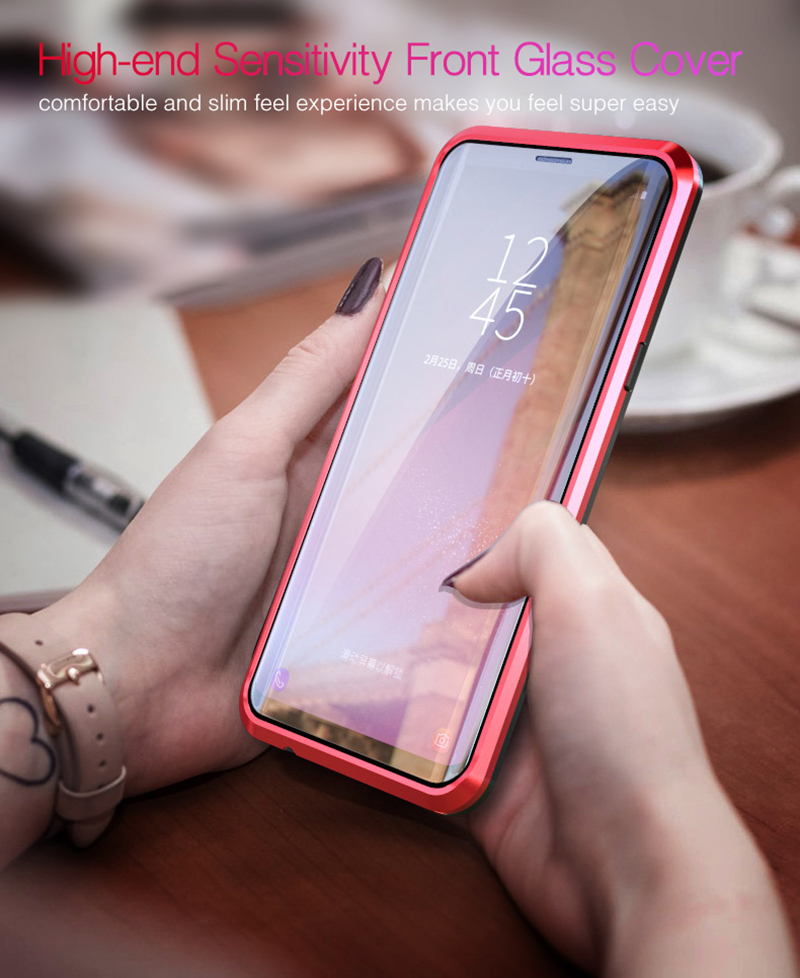 Luxury 360 Double sided front+back glass Magnetic case for samsung galaxy s9 plus note 9 Aluminum metal magnet case cover coque  (7)