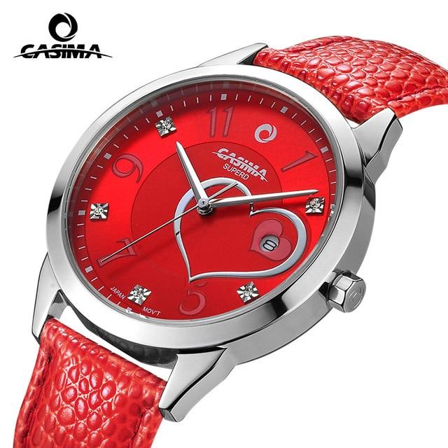 цена  New Luxury Brand CASIMA Women Quartz Watch montre femme Fashion Leather Waterproof Crystal Ladies Watch reloj mujer female  онлайн в 2017 году