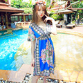 2015 NEW Fashion Retro 1960s 1970s Vintage Paisley Print V Neck Hippie Bohemian Summer Dress Women Beach Dress M XXL