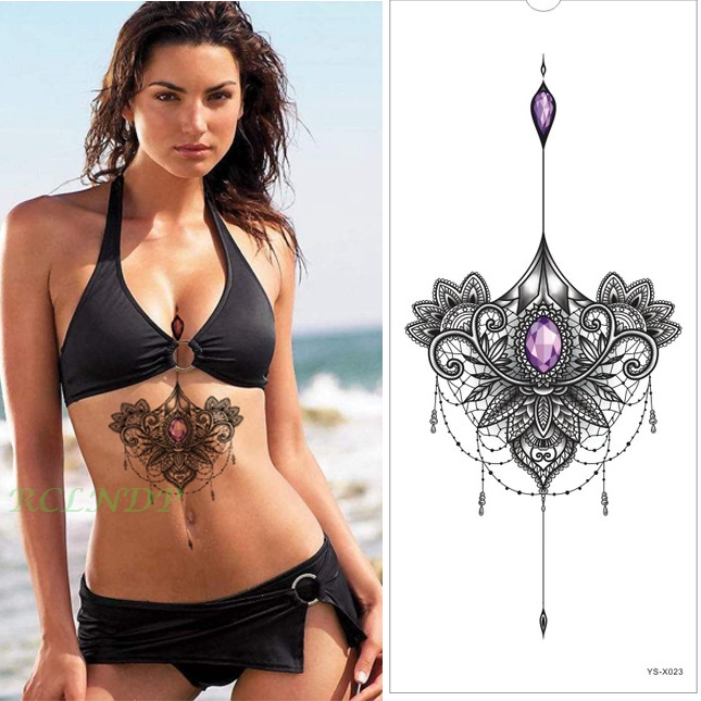 Waterproof Temporary Tattoo Sticker lotus mandala flower boobs on women's chest back