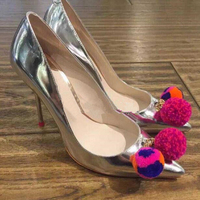 Hot Sale Spring Autumn Women Pumps Luxury Designer Pointed Toe High Heels S Wool Ball Decoration
