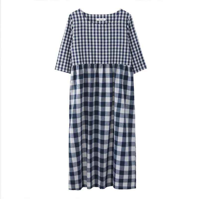 Хлопковое льняное винтажное клетчатое женское повседневное Свободное длинное летнее элегантное платье vestidos одежда 2019 платья robe femme