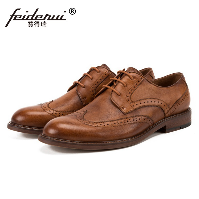 New Vintage Round Toe Man Formal Dress Brogue Shoes Genuine Leather Wingtip Footwear British Designer Mens Handmade Flats SS190