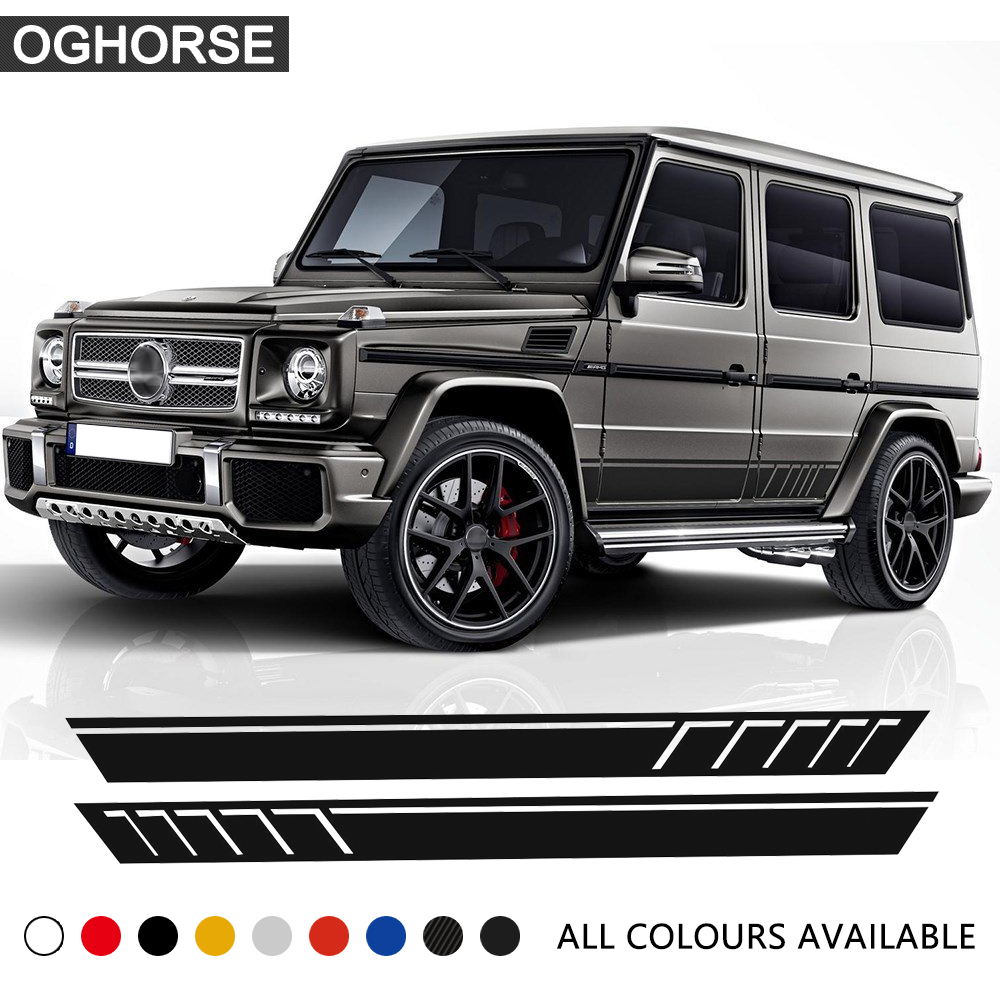 Car Styling Auto AMG Sport Performance Side Stripe Skirt Sticker para Mercedes Benz G500 G63 W463 G65 Calcomanías de vinilo Accesorios