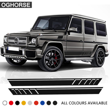A Pair CAR STYLING EDITION 463 AMG SIDE SPORTS STRIPE DOOR DECALS G63 G65 RARE NEW FOR MERCEDES BENZ W463 G CLASS 2pcs for mercedes benz g63 amg performance edition side sports stripe w463 g65 skirt vinyl decals sticker black 5d carbon