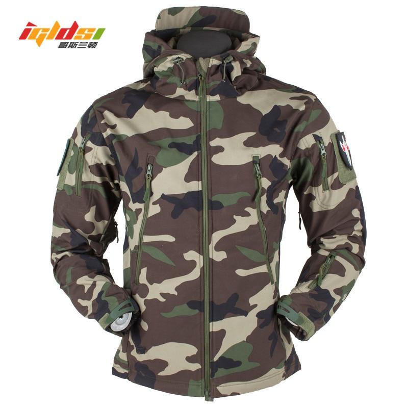 b1ad5a18d24 Акула кожи V5 Soft Shell Тактический военный куртка Для мужчин  Водонепроницаемый Зимние флисовые пальто армия ветровки камуфляжные куртки  XS-3XL