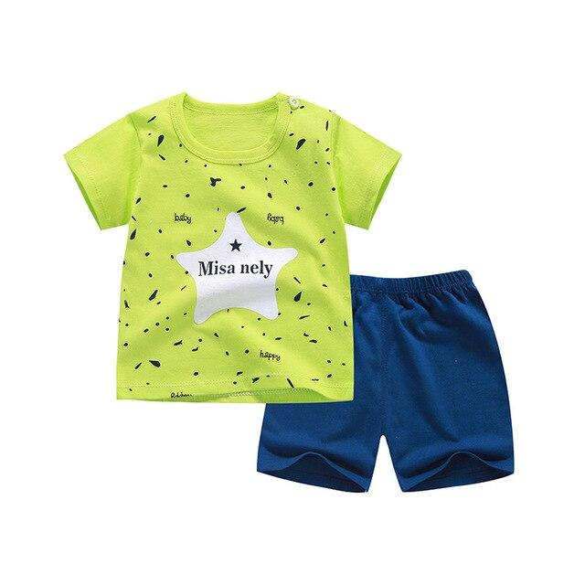 2019 Trẻ Em quần áo mùa hè cotton tay ngắn quần áo bé trai bé gái quần áo cơ thể phù hợp với hoạt hình quần áo trẻ em Bộ
