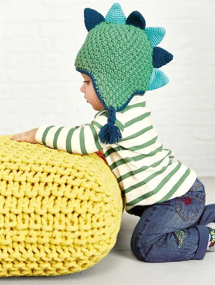 Chapéu do bebê dinossauro boy cap chapéu de malha de algodão da menina da criança animal do estilo quente newborn fotografia bonnet chapeau touca enfants