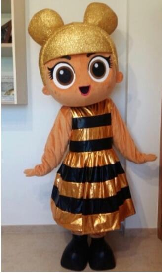Adulte tailles or poupée mascotte Costum dessin animé fantaisie sexy Halloween robe enfants fête mascotte costume livraison gratuite