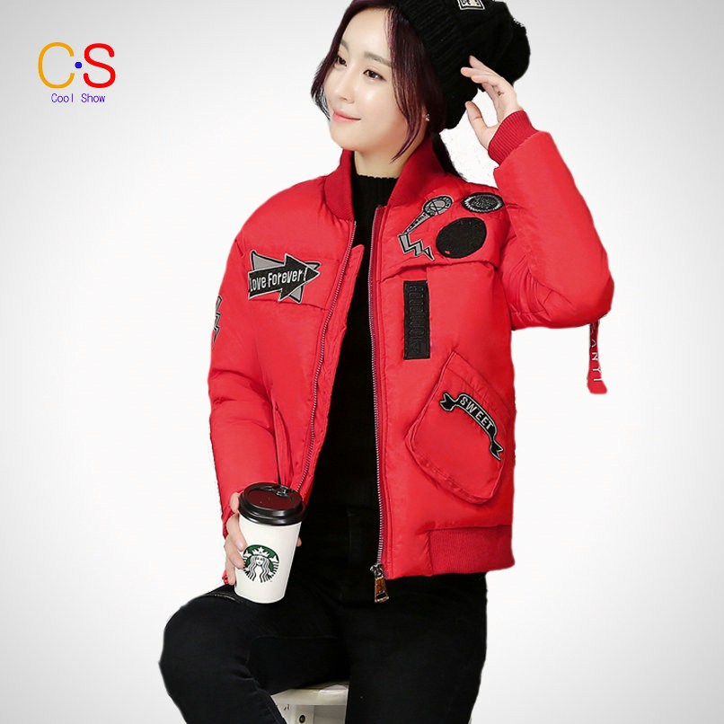 New Look Women Jackets Baseball Collar Winter Short Short Style Lady Quilted Coats With Badge Bomber Jackets Thick Warm Outfits