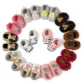 2016 New Canvas Leather Stitching Baby Shoes Infant Tassel Shoes Stripe Baby First Walker Shoes Unisex Baby Moccasin Shoes