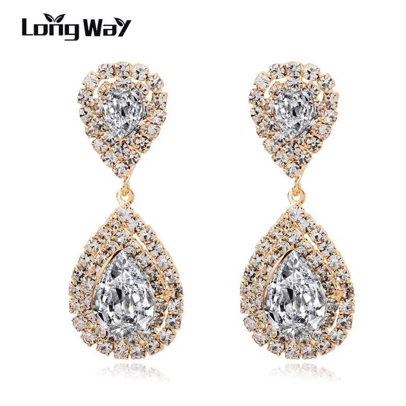 LongWay Brand Wedding Earrings High Quality Gold Color Crystal Earrings For Women NEW Trendy Ethnic style jewelry SER160039