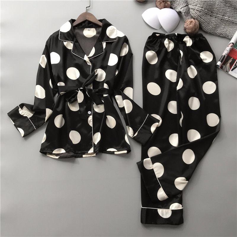 Silk Pajamas Set Women Sexy Print Dot Summer Female Pyjamas Long Shirt 2Piece/Set Stitch Lingerie 2019 Home Sleepwear