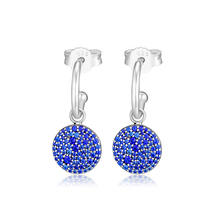 Classic Elegance Earrings With Royal Blue Crystal 100% 925 Sterling-Silver-Jewelry Free Shipping