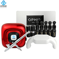 Kit OPHIR Airbrush Arte Do Prego com Lâmpada LED UV Unhas de Gel polonês Manicure Ferramentas De Metal Stencil Prego Camada De Base & Top Coat _ OP-NA002R