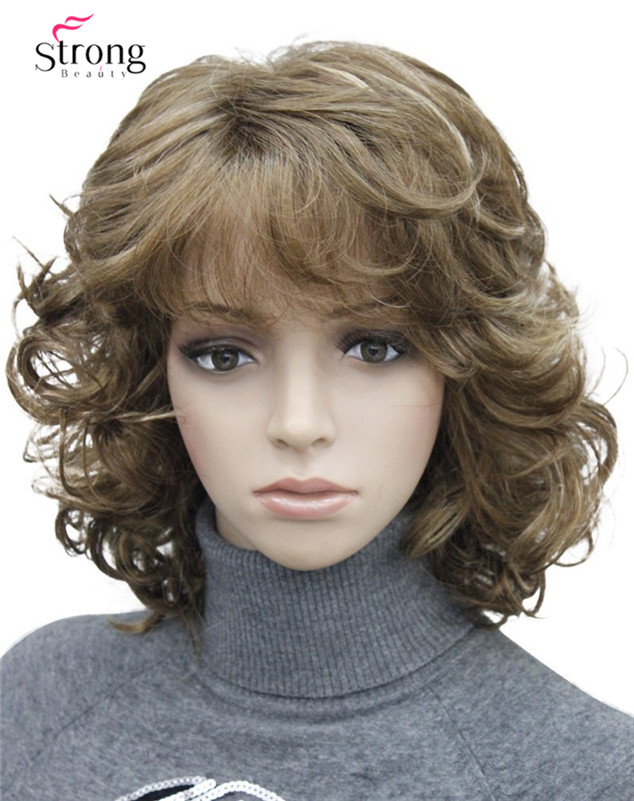 StrongBeauty Short Tousled Curls Brown,Auburn,Blonde Full Synthetic Wigs COLOUR CHOICES