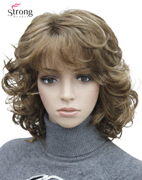 Strongbeauty 짧은 tousled 곱슬 갈색, auburn, 금발 전체 합성 가발 색상 선택