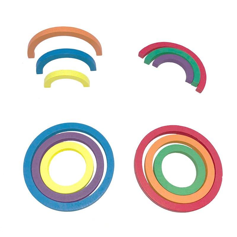 Bébé Frobel Gabe9 aides pédagogiques jouets coloré courbe cercle d'apprentissage jouets en bois pour enfants préscolaire éducatif précoce unisexe - 4