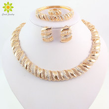 Vintage African Crystal Jewelry Sets For Women Wedding Bridal Accessories Gold Color Necklace Bracelet Earrings Ring Set