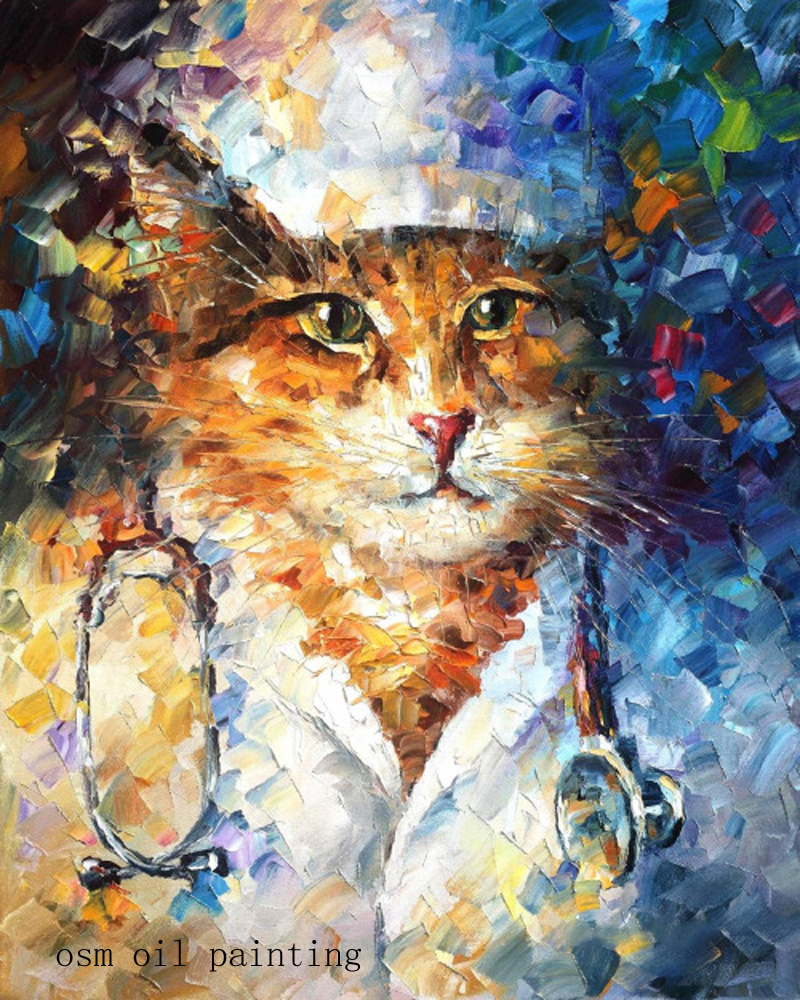 Painting & Calligraphy Obedient Art Gifts Handmade Wall Painting For Home Decor Hang Pictures Craft Palette Knife Doctor Animal Cat Oil Painting On Canvas Wide Varieties