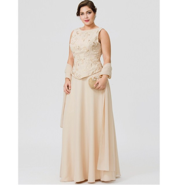 ed1f575ca4e LAN TING BRIDE A-Line Jewel Neck Floor Length Chiffon Mother of the Bride  Dress with Beading Embroidery Pearl Detailing
