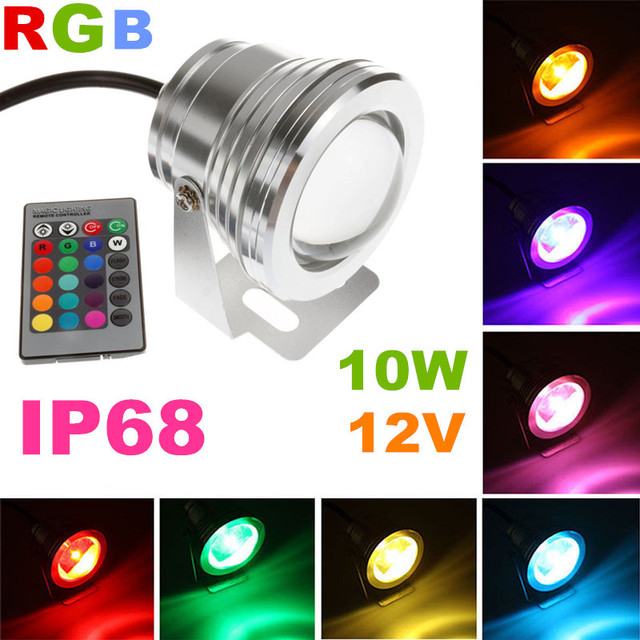 Charming 2pcs 12 Volt Low Voltage Landscape Exterior Stage Lighting 10w RGB Color  Changeable