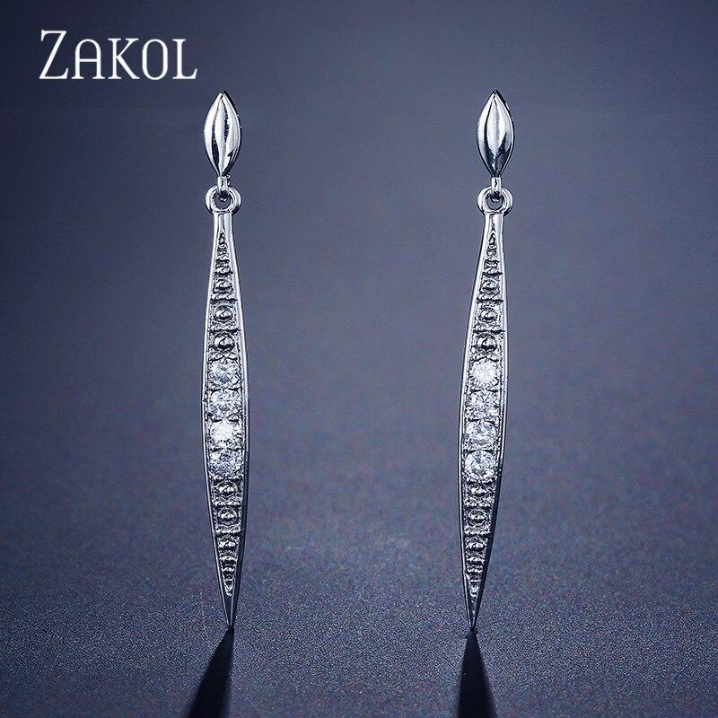 ZAKOL New Fashion Vintage CZ Zirconia Dangle Drop Earrings for women Rose Gold Color Rhinestone Crystal Bar Jewelry FSEP2096