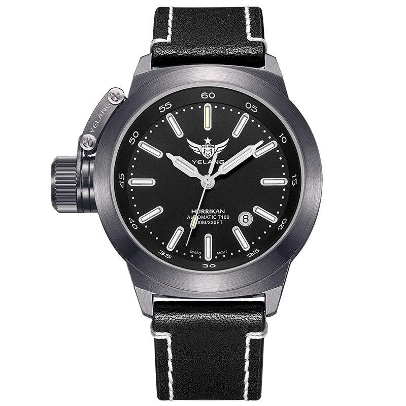 YELANG V1022 T100 Tritium Luminous Army Military Mens Automatic Mechanical Wrist Watch With ETA 2824-2 Automatic Movement -Rifle
