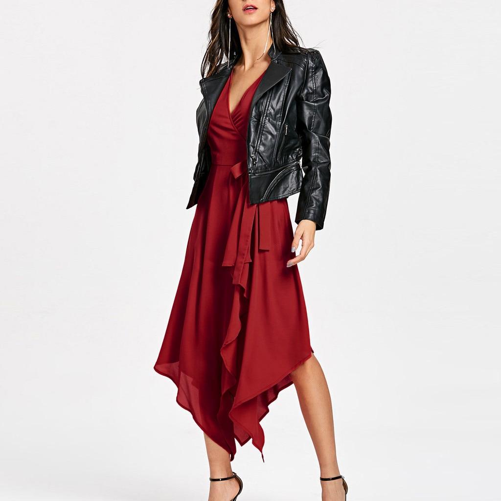Fashion Women V Neck Sleeveless Bandage Asymmetrical Bohemian Long Dress elegant comfortable breathe fashion saia rock