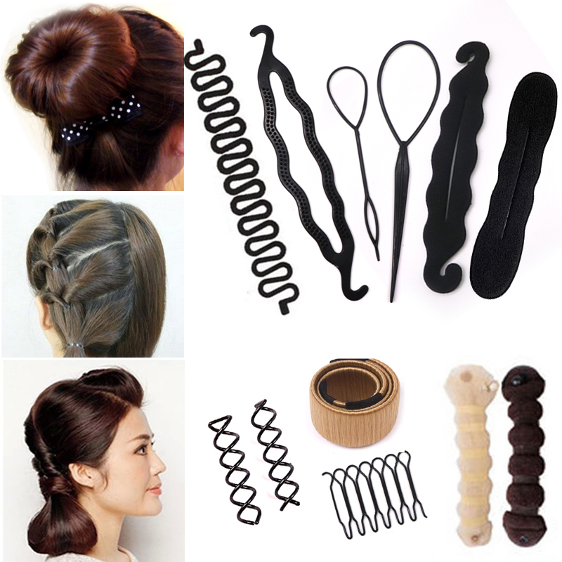 Lady Women Hair Styling Tools Hairpins Pull Hair Clips Twist Hair Accessories Braider Bun Roller Maker   Headwear   Headbands
