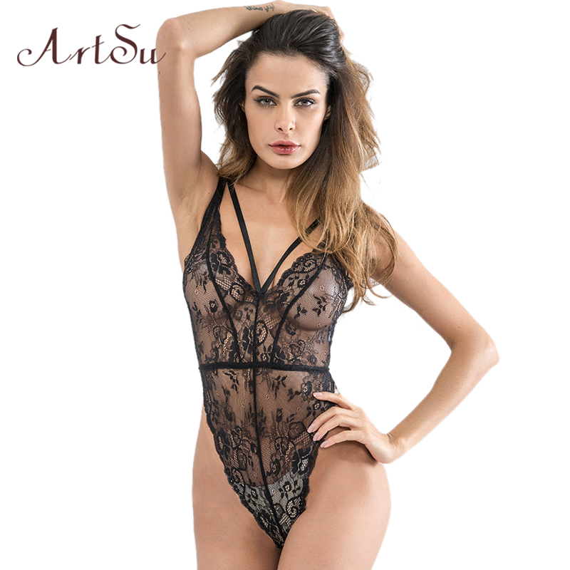 ArtSu Sexy Deep V Neck Bodysuit Black White Ribbon Lace Bodysuit Women Slim Catsuit Body Leotard 2018 Summer Overalls ASJU30314