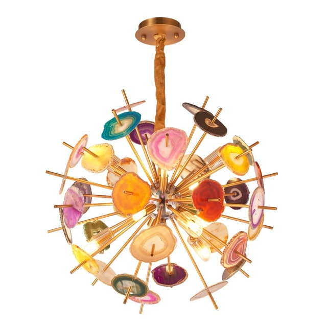 Modern Colorful Agate Stone Metal Globe Pendant Light Creative Personality Luxury Designer Art G9 Crystal Pendant Lamp