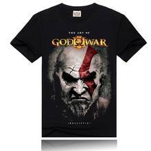 Men 3D Punk T-shirt Black Loose God War  Fashion Brand 2016 New O-Neck Cotton Printing Homme Short Sleeve Men T shirts