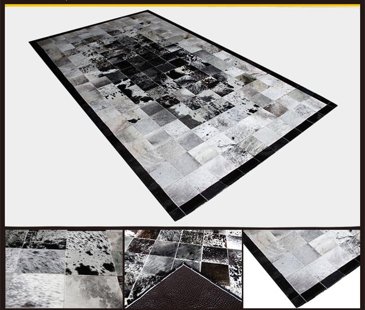 Fashionable art carpet 100% natural genuine cowhide leather gray carpetFashionable art carpet 100% natural genuine cowhide leather gray carpet