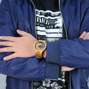 Image 5 - בובו ציפור עץ שעונים גברים כמו בחיים מיוחד עיצוב UV הדפסת חיוג פנים במבוק relogio masculino מתנות שעונים C P20