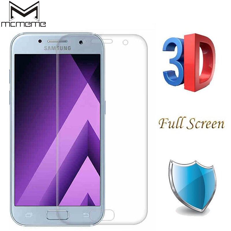 33833465f74 MCMEME Cubierta Completa 3D Curvo de Cristal Templado Para Samsung Galaxy  A7 A5 A3 2017 A320
