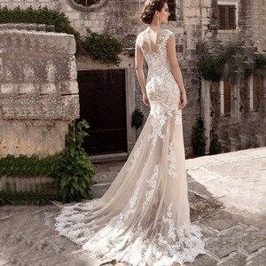 Image 3 - Charming Mermaid Wedding Dresses Detachable Train Bridal Gown Scoop Cap Sleeves Lace Vestidos de Novia Robe de Mariee